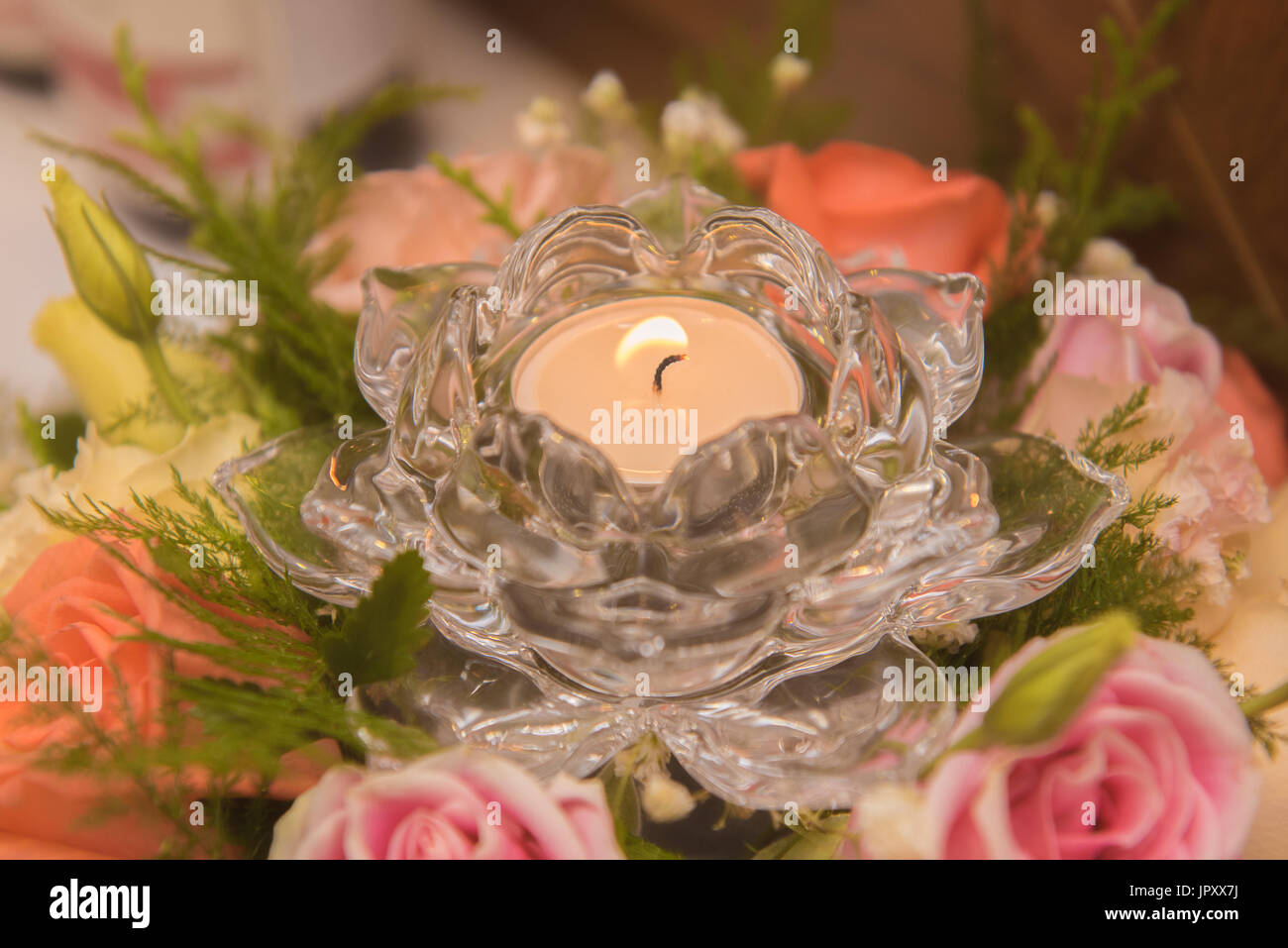 Flowers Candles Beautiful Use For Wedding Day Or Happy Birthday Etc