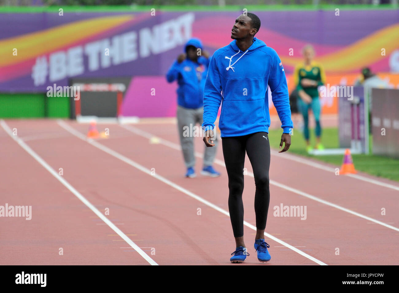 An Athlete Trains At The Warm Up Track Adjacent To London Stadium Ahead Of IAAF World Championships 2017 Which Begin Formally On 4 August