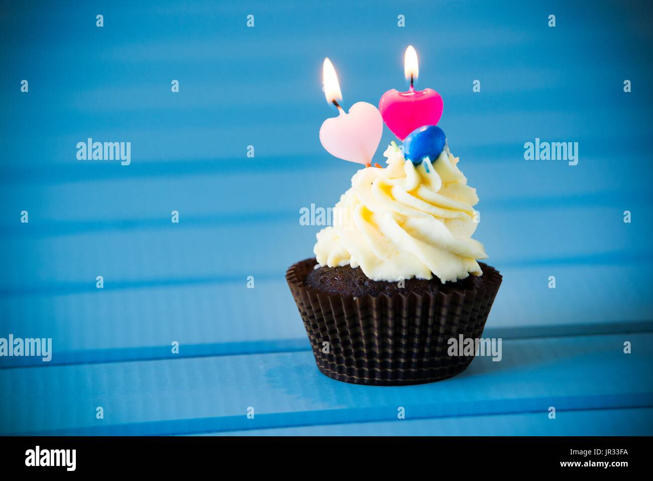 Birthdays Cake Cupcake With A Heart Shaped Candles For 2 Second