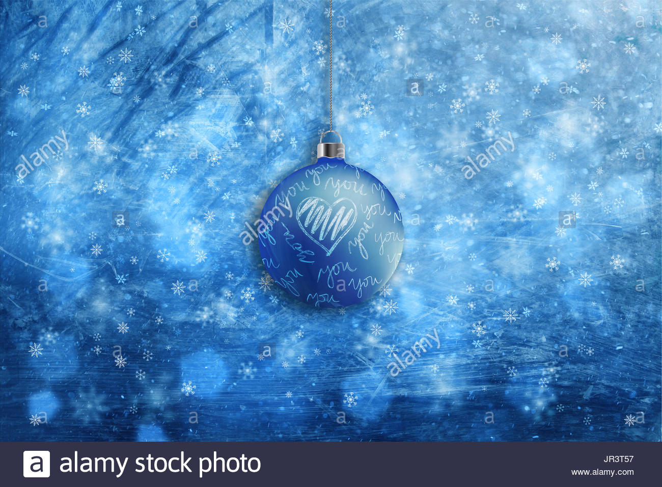 artistic blue color bokeh with love symbols decorative christmas bulb background blurry christmas and new year greeting card illustration background
