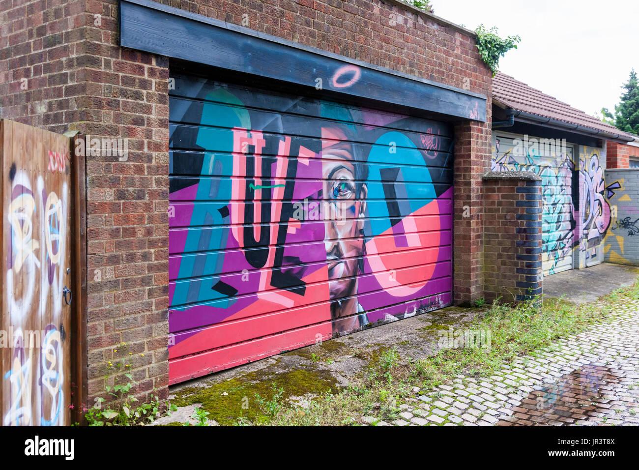 Northampton Street Art In Allyway On Garage Doors Stock Photo