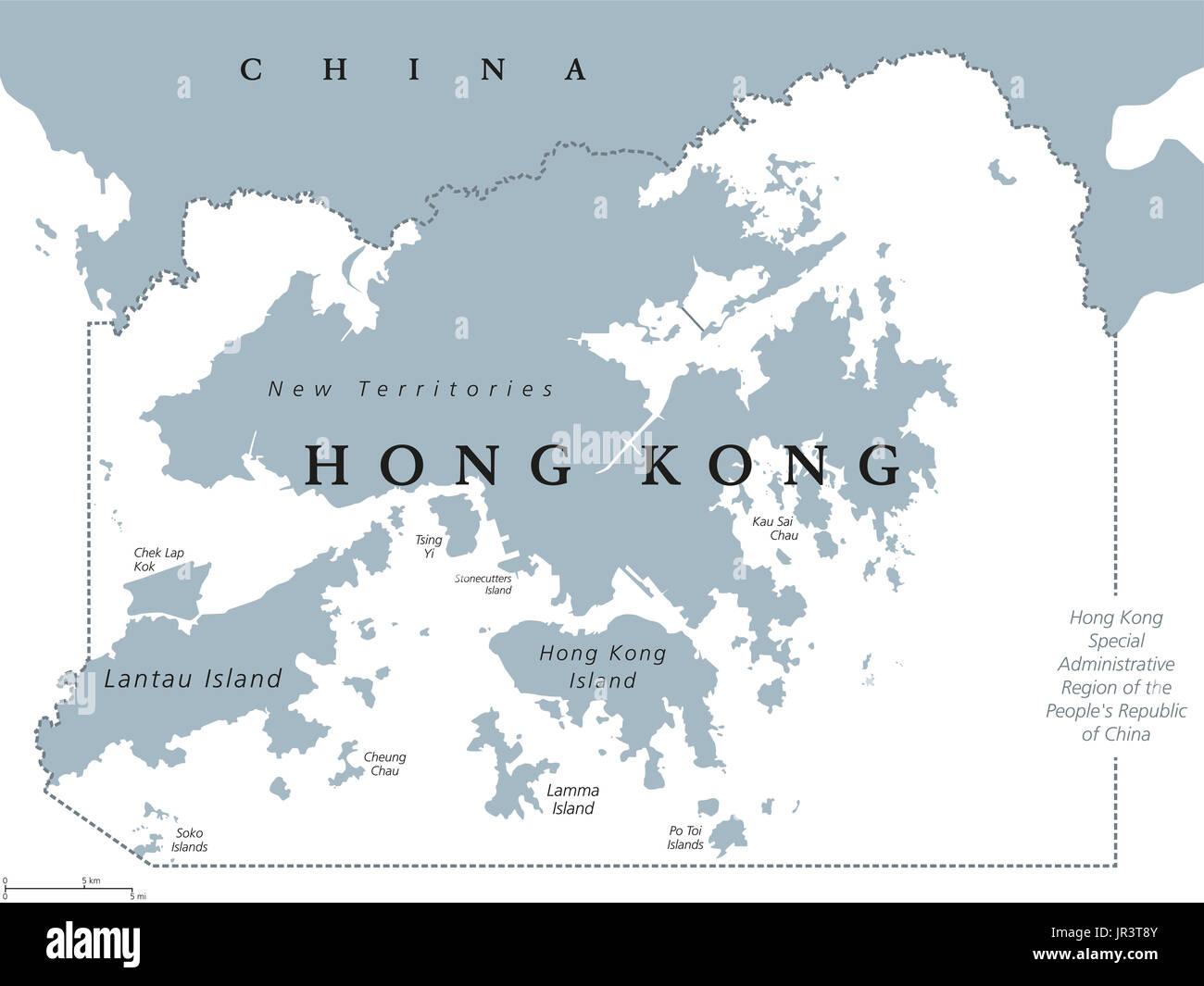 Hong Kong And Vicinity Political Map English Labeling Hong Kong - China political map in english