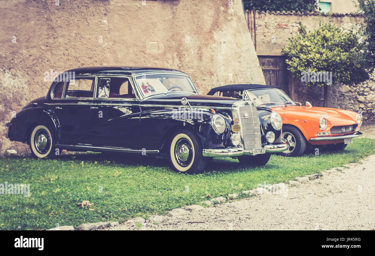 Trento, Italy: july 22, 2017: meeting of classic cars. Old famous ...