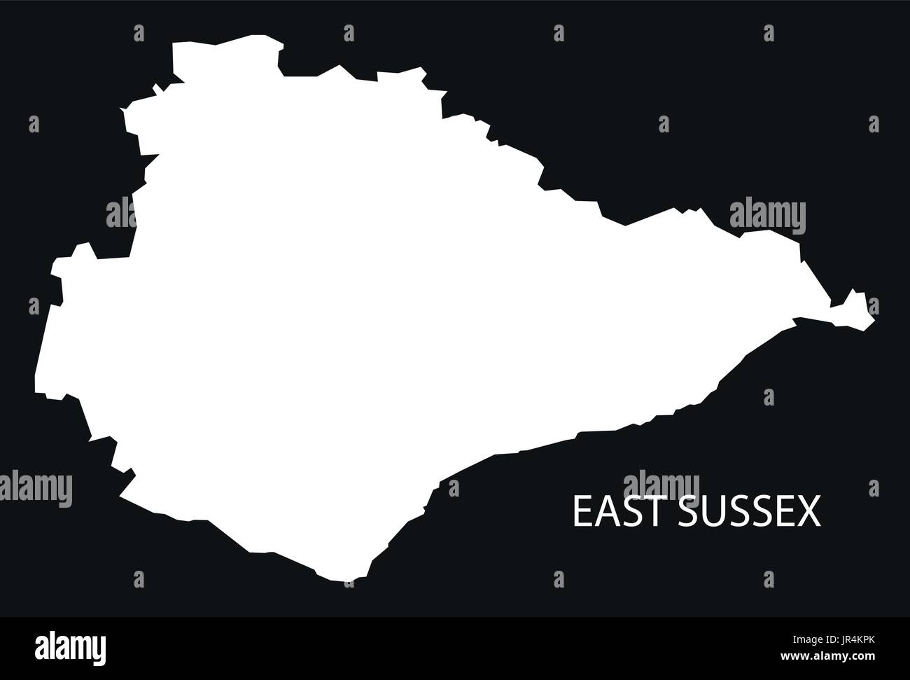 East Sussex England Uk Map Black Inverted Silhouette Illustration