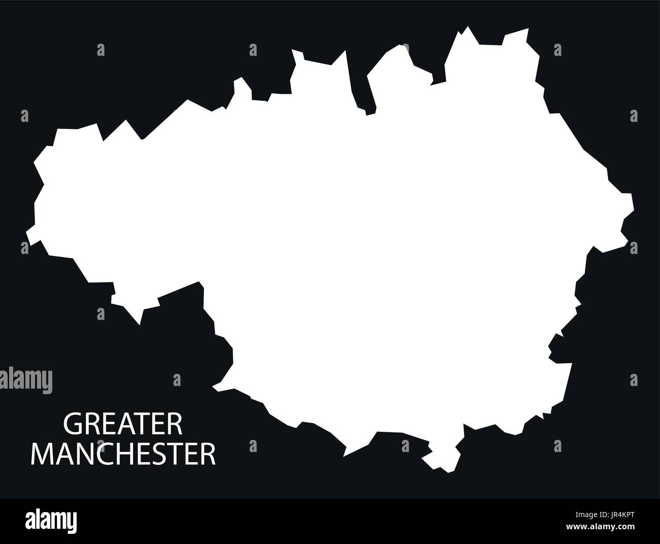 Greater Manchester England UK map black inverted silhouette Stock ...