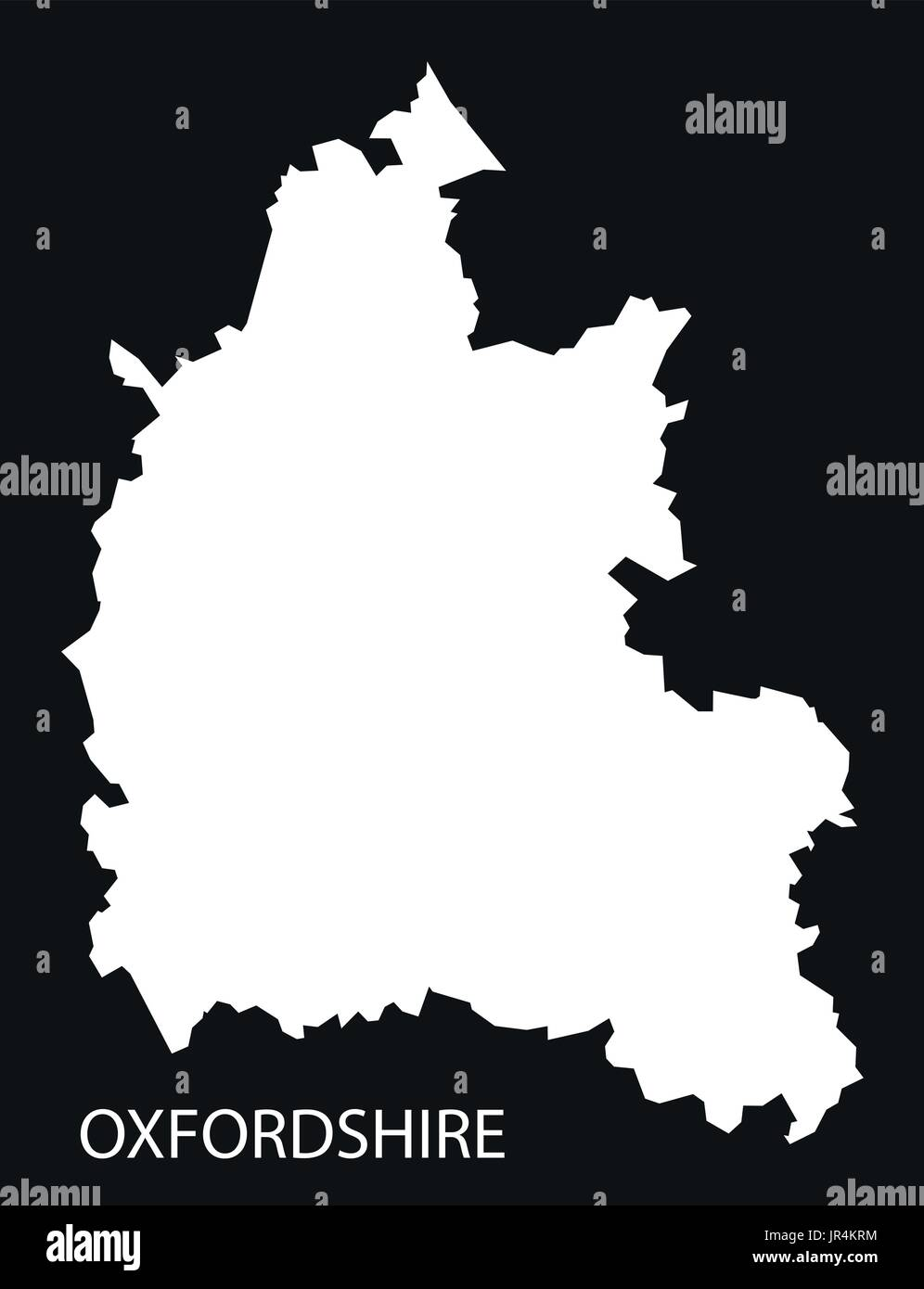 Oxfordshire England Uk Map Black Inverted Silhouette Illustration