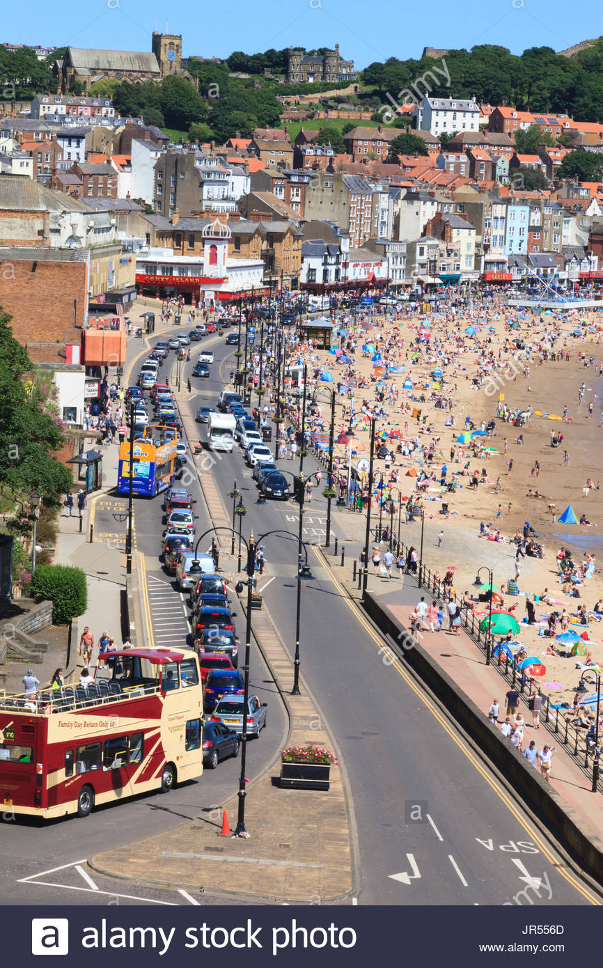 The seafront Scarborough busy with traffic and tourists