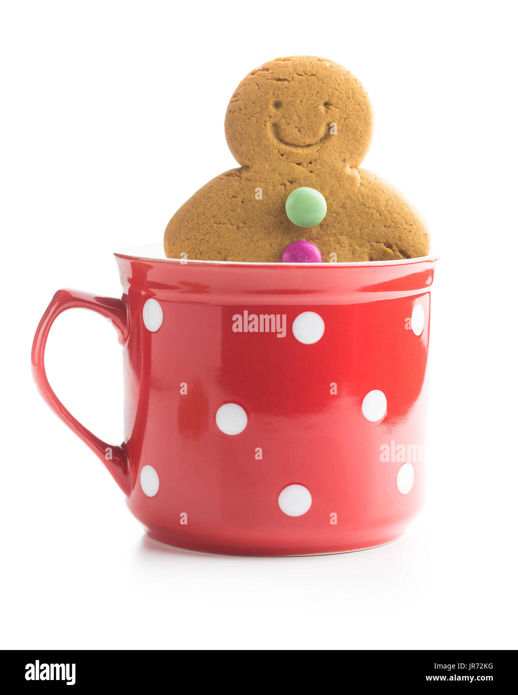 Sweet Gingerbread Man In Cup Isolated On White Background Xmas