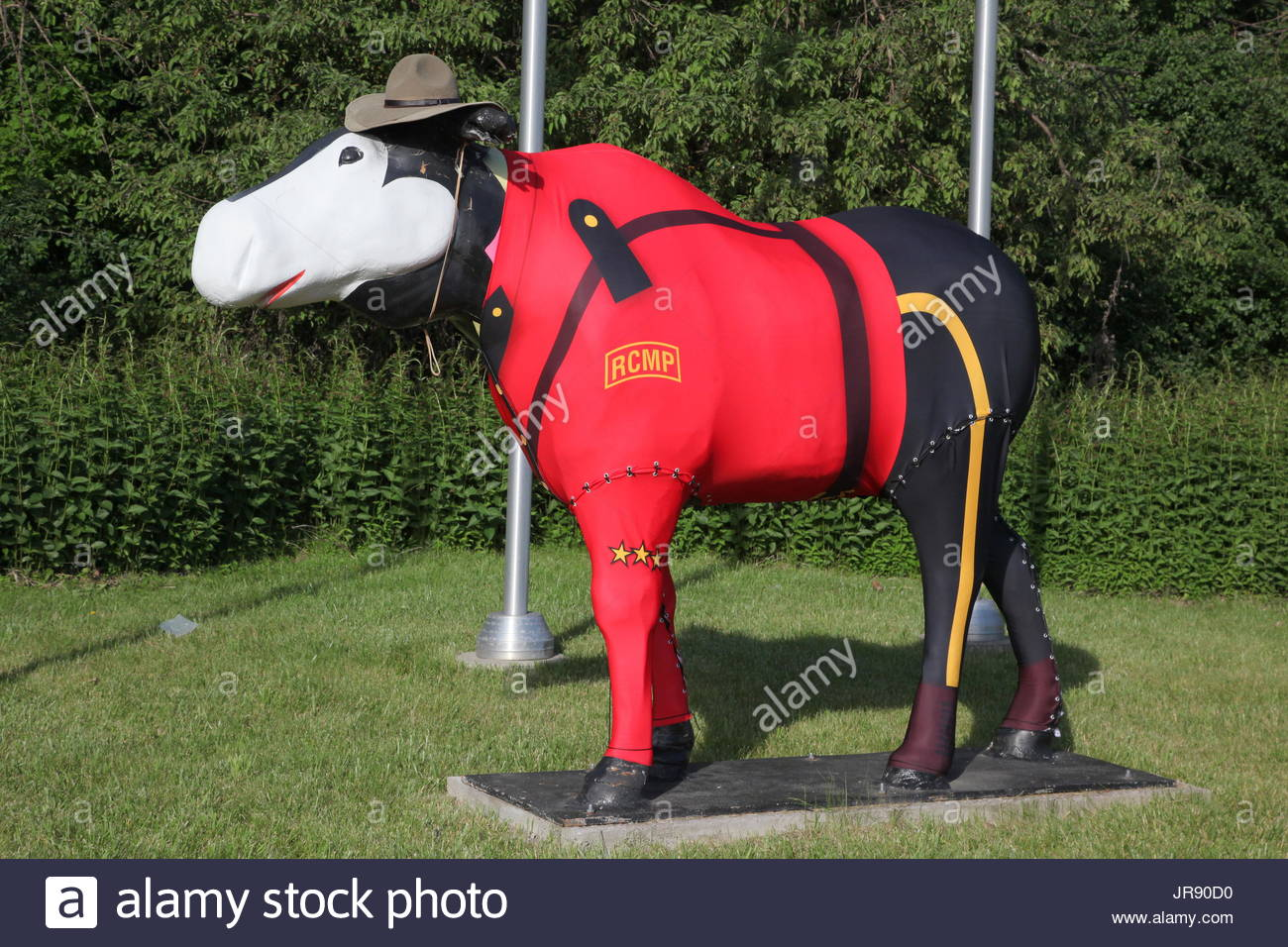 moose sculpture dressed in a royal canadian mounted police rcmp uniform JR90D0 moose display stock photos & moose display stock images alamy