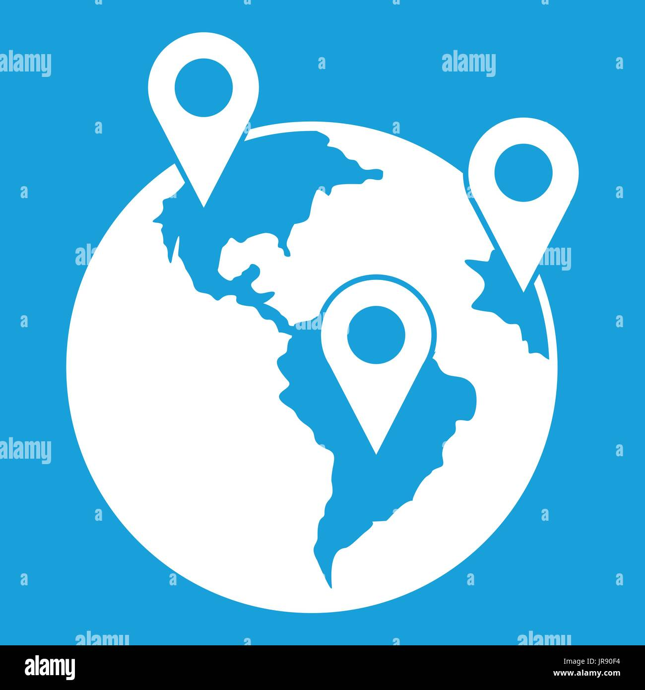 Globe and map pointers icon white stock vector art illustration globe and map pointers icon white gumiabroncs Gallery
