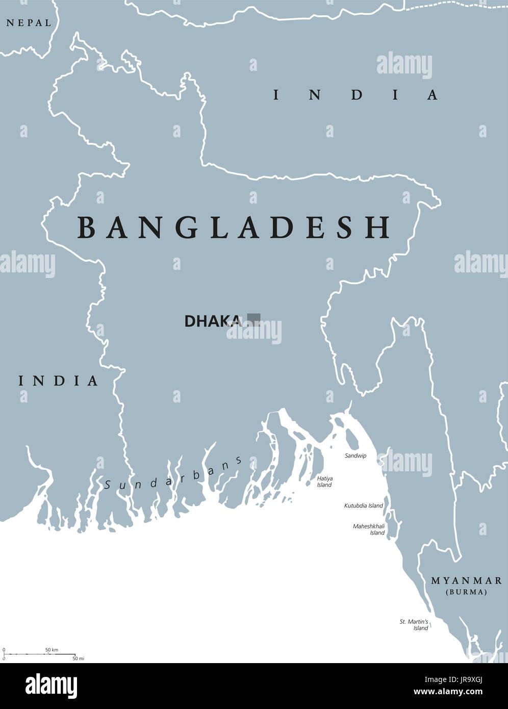 Bangladesh political map with capital Dhaka and borders. English ...