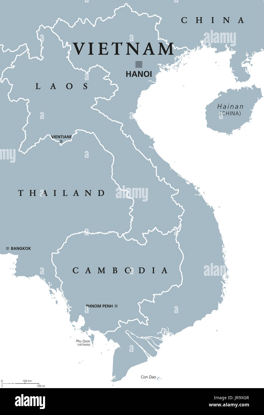 Vietnam Political Map With Capital Hanoi And Borders English - China political map in english