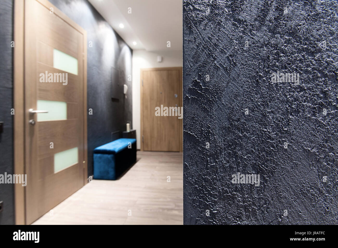Interior design element - rough gray wall texture in a hall Stock ...