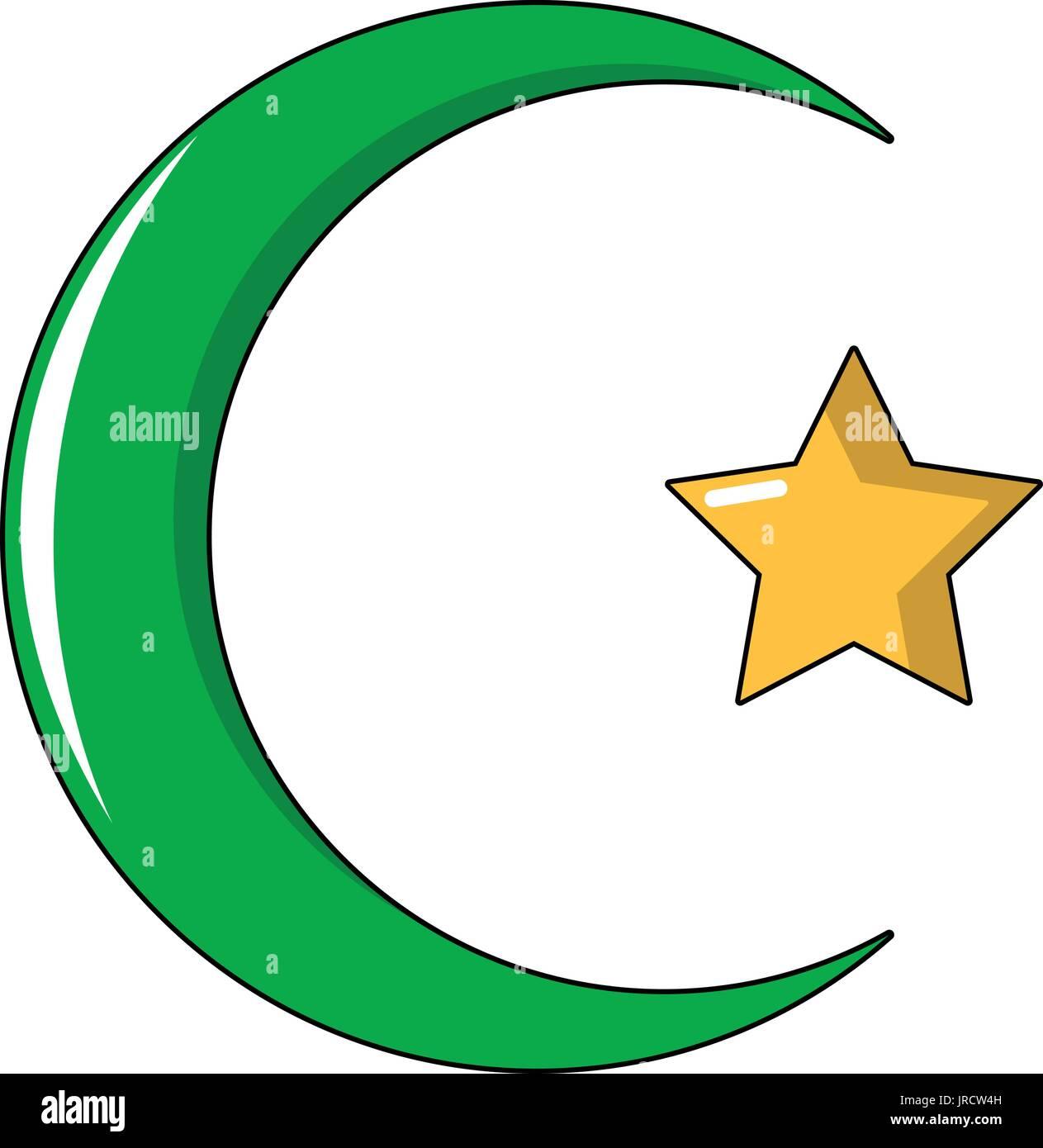 Starcrescent Symbol Of Islam Icon Cartoon Style Stock Vector Art