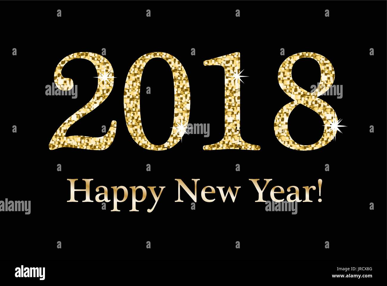 happy new year greeting card template for your design 2018 inscription from a gold glitter sequins sparkling numerals on a black background flye