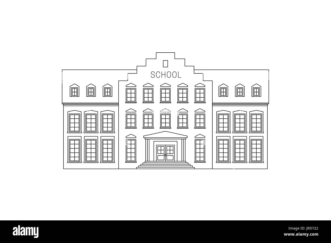 Line Drawing School : College building illustration cut out stock images