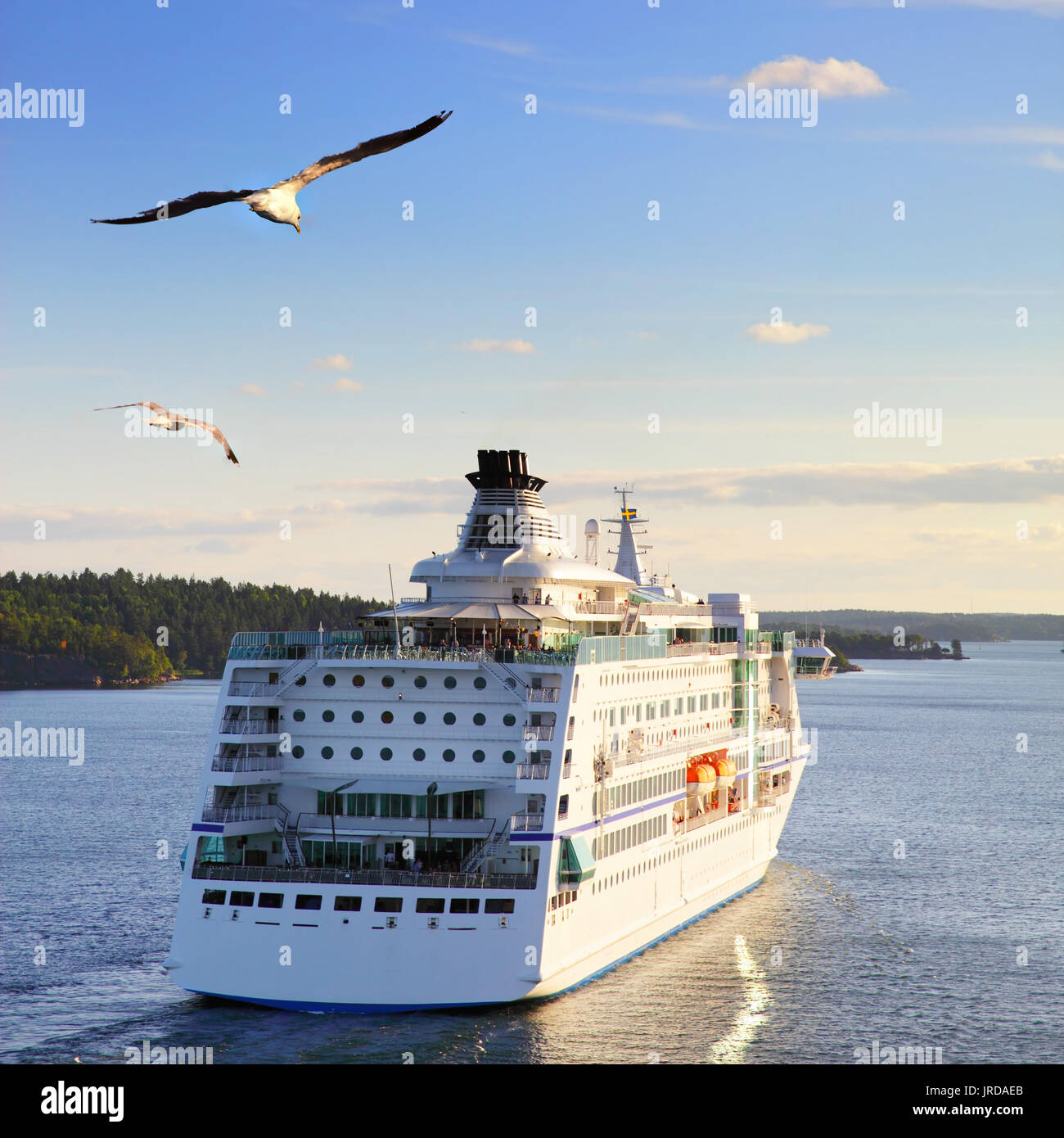 Cruise Ship In The Sea At Sunset With Flying Gulls Stock Photo - Flying cruise ship