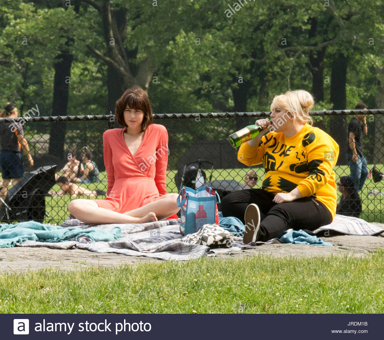 Dakota johnson and rebel wilson on location with how to be on location with how to be single in central park nyc ccuart Images