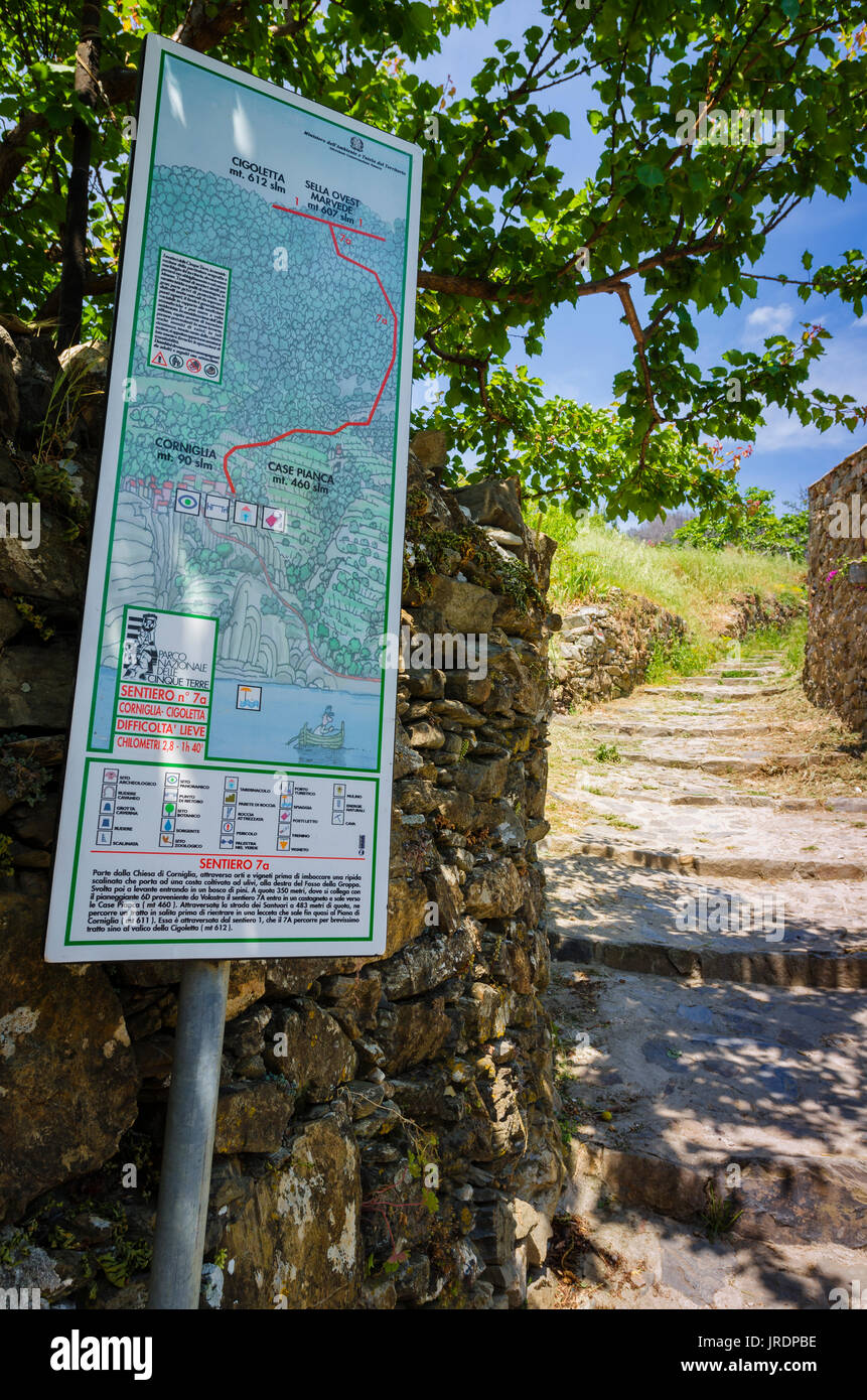 Italy Map Cinque Terre.Walking Map In Corniglia Cinque Terre Liguria Italy Stock Photo