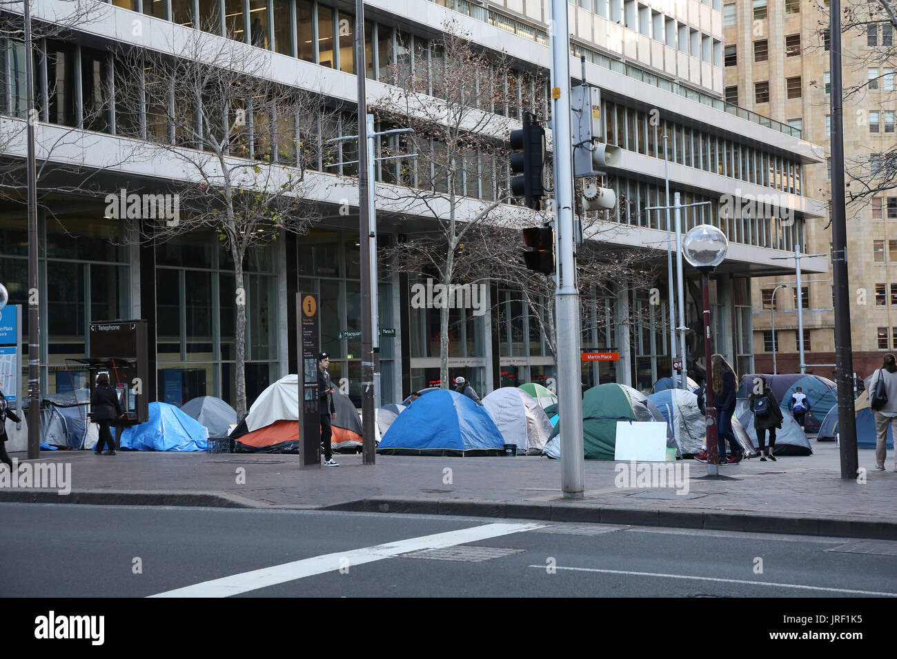 Sydney Australia. 4 August 2017. More tents have been erected at the top end of Martin Place as the homeless c& now occupies almost the whole area ... & Sydney Australia. 4 August 2017. More tents have been erected at ...