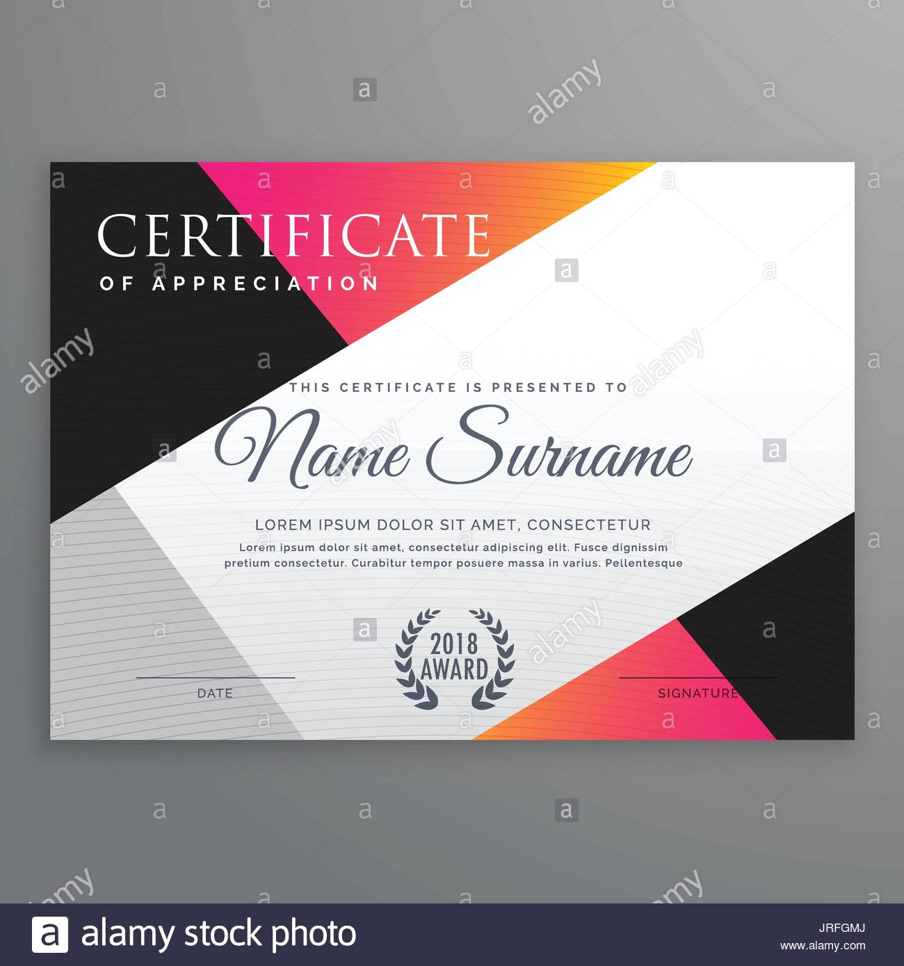 stylish certificate design template with minimal poly shapes stock