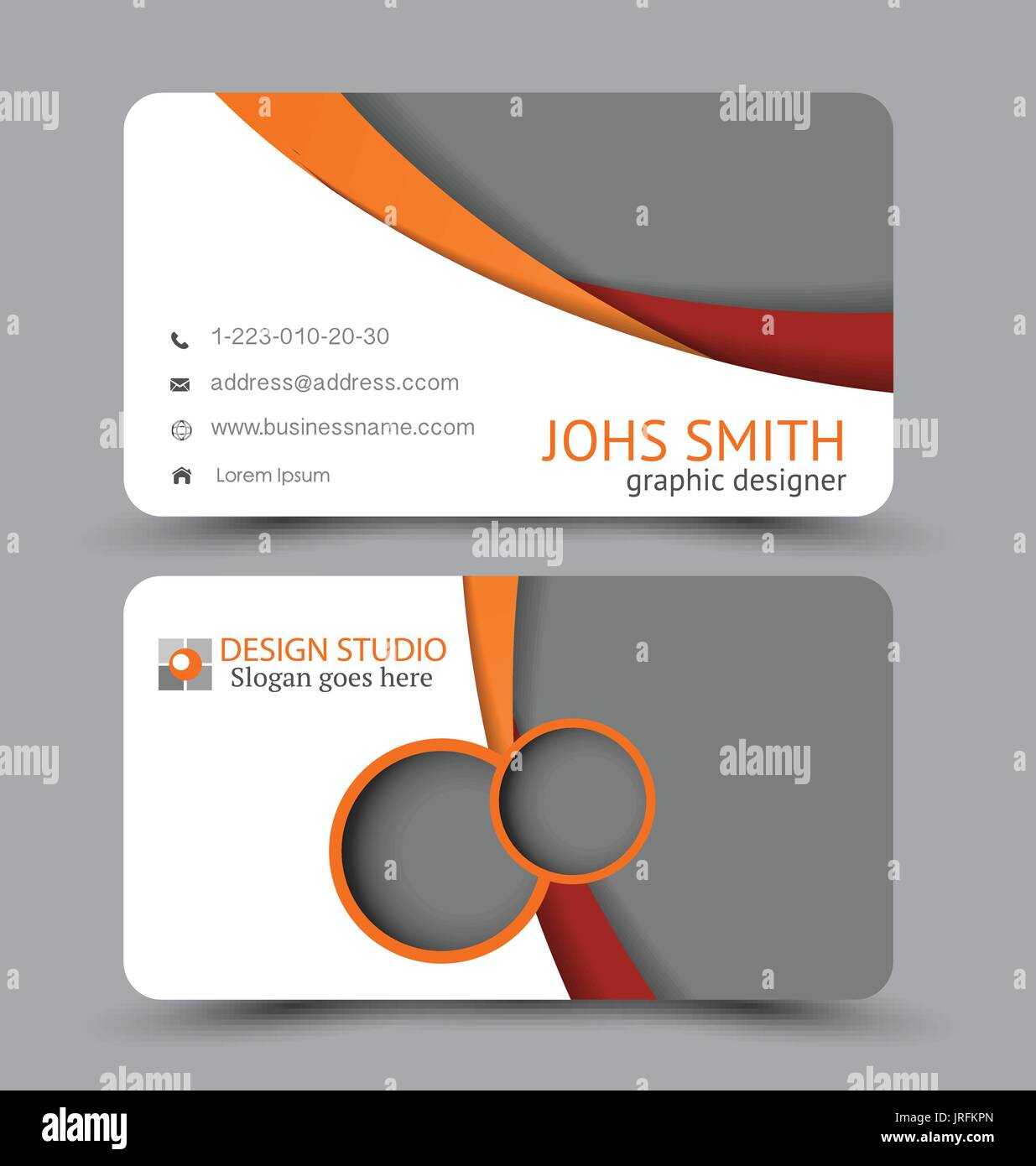 Business Card Design Set Template For Company Corporate Style Red
