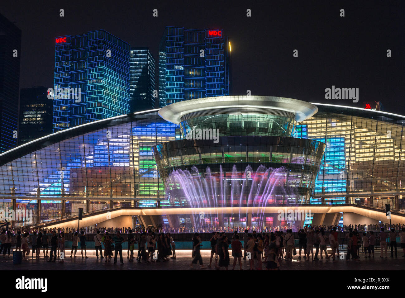 Hangzhou china night lights and modern architecture the famous grand theatre is unique and lighted with memorizing designs and musical fountain show