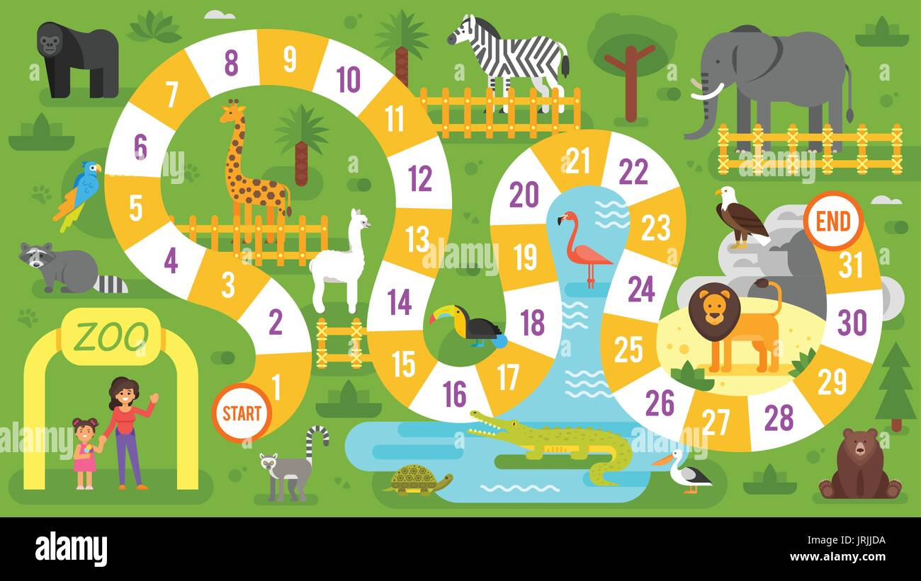 vector flat style illustration of kids zoo animals board game stock