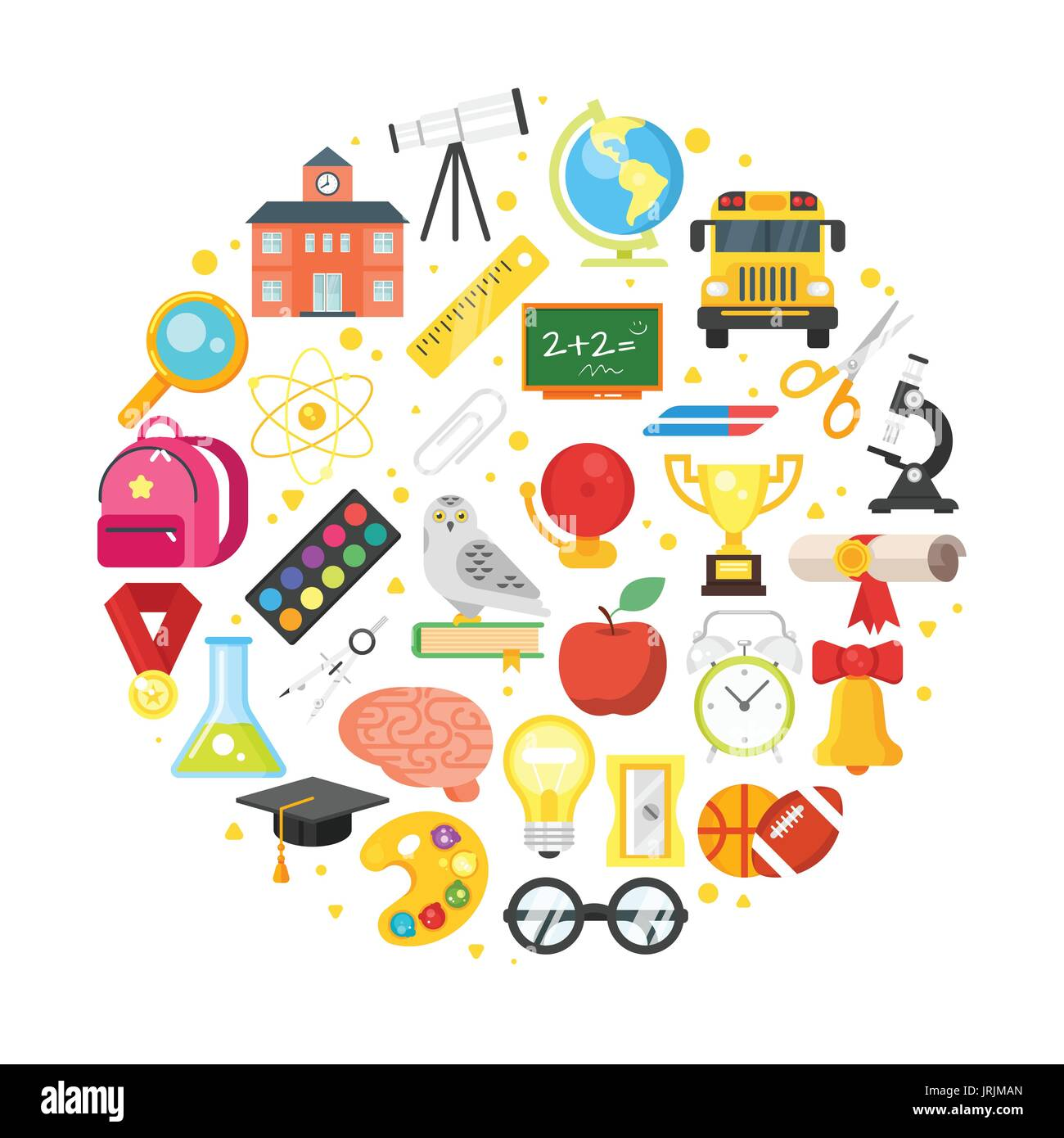 Vector Flat Style Round Composition Of School And Education Symbols