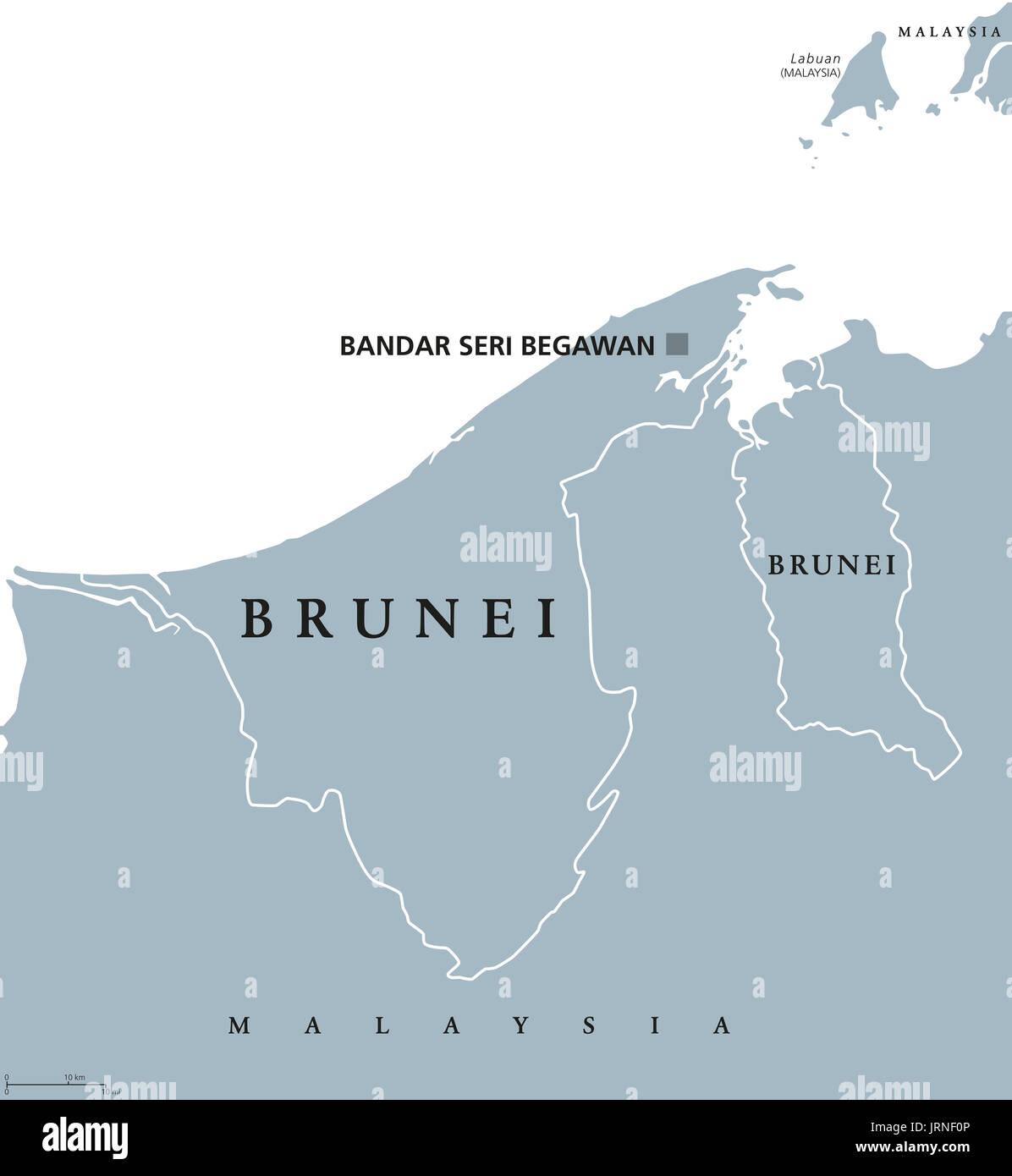 Brunei Political Map With Capital Bandar Seri Begawan English - Brunei map