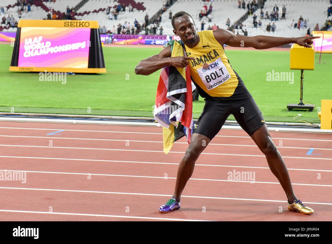 Usain Bolt strikes his lightning bolt pose after & London UK. 5 August 2017. Usain Bolt strikes his lightning bolt ... azcodes.com