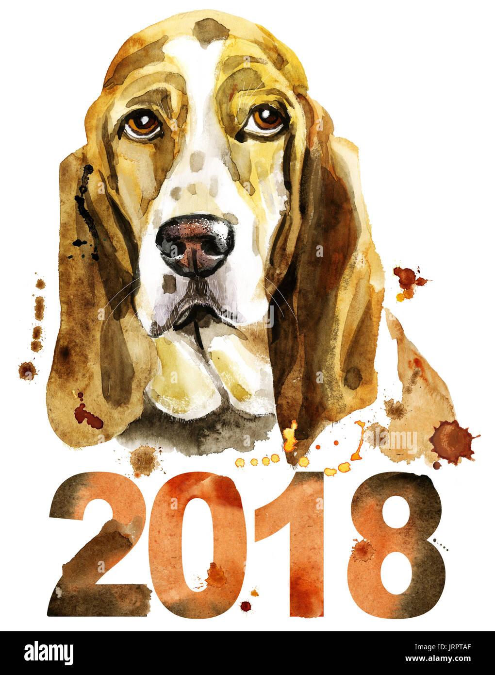 Cute Dog Dog T Shirt Graphics Watercolor Basset Hound Illustration