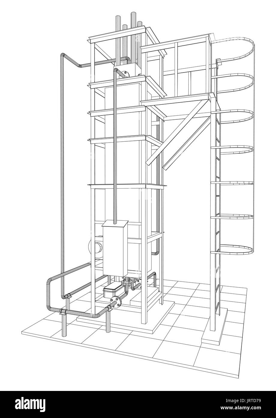 Residential Furnace Diagram Trusted Wiring Residencial Petroleum Gas Heating Tracing Illustration Of 3d Stock