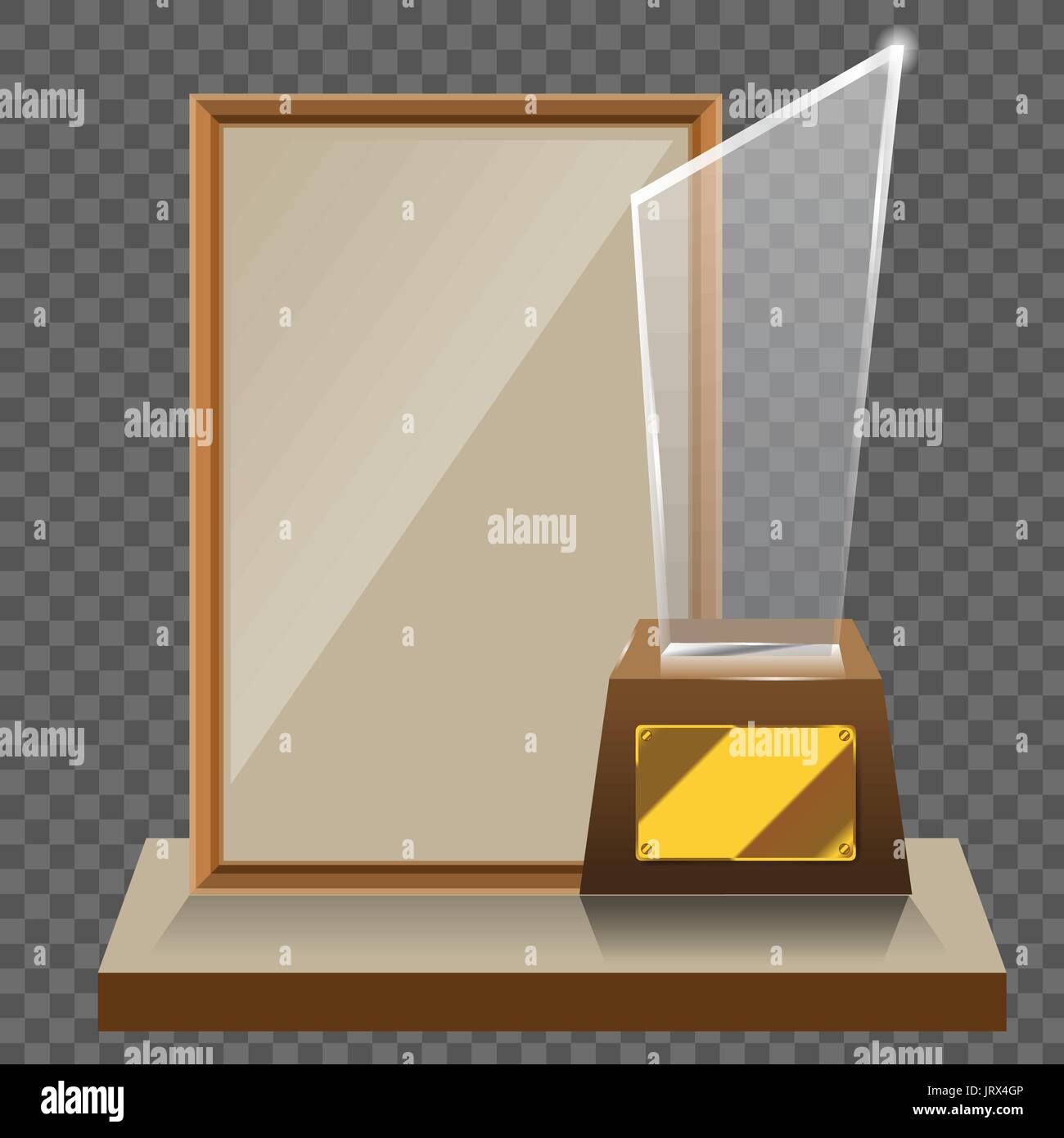 3d Vector glass star trophy with base and blank frame for copyspace ...