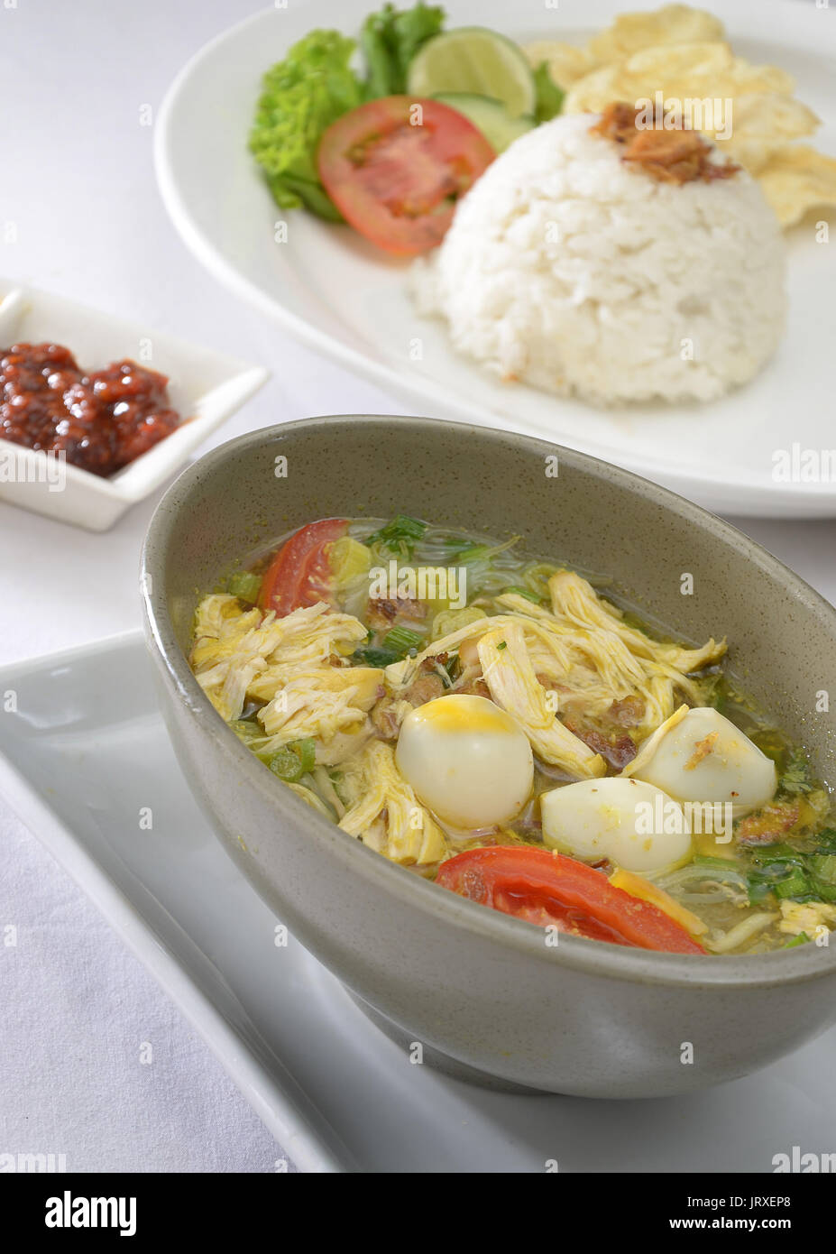 soto ayam chicken soup indonesian food stock