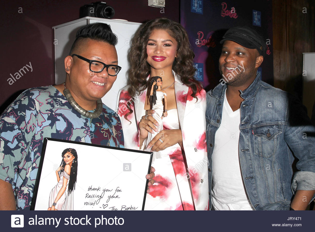 Zendaya zendaya receiving her one of a kind barbie and meet and zendaya receiving her one of a kind barbie and meet and greet at the barbie rock n royals concert experience dress by msgm makeup is dior beauty kristyandbryce Image collections