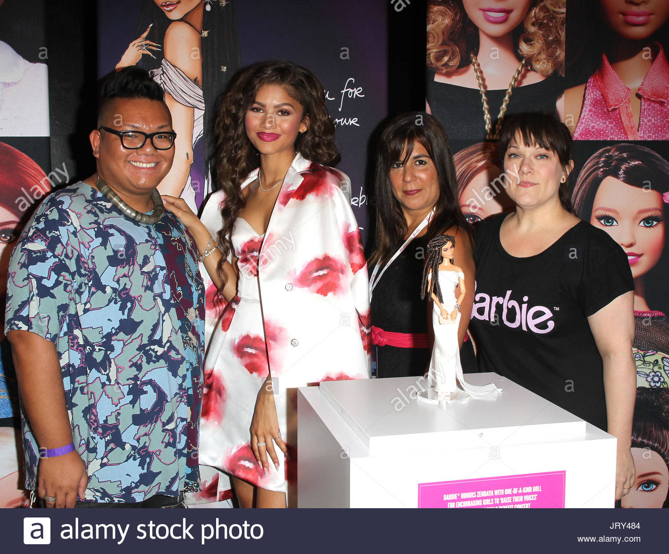 Zendaya zendaya receiving her one of a kind barbie and meet and zendaya receiving her one of a kind barbie and meet and greet at the barbie rock n royals concert experience dress by msgm makeup is dior beauty m4hsunfo