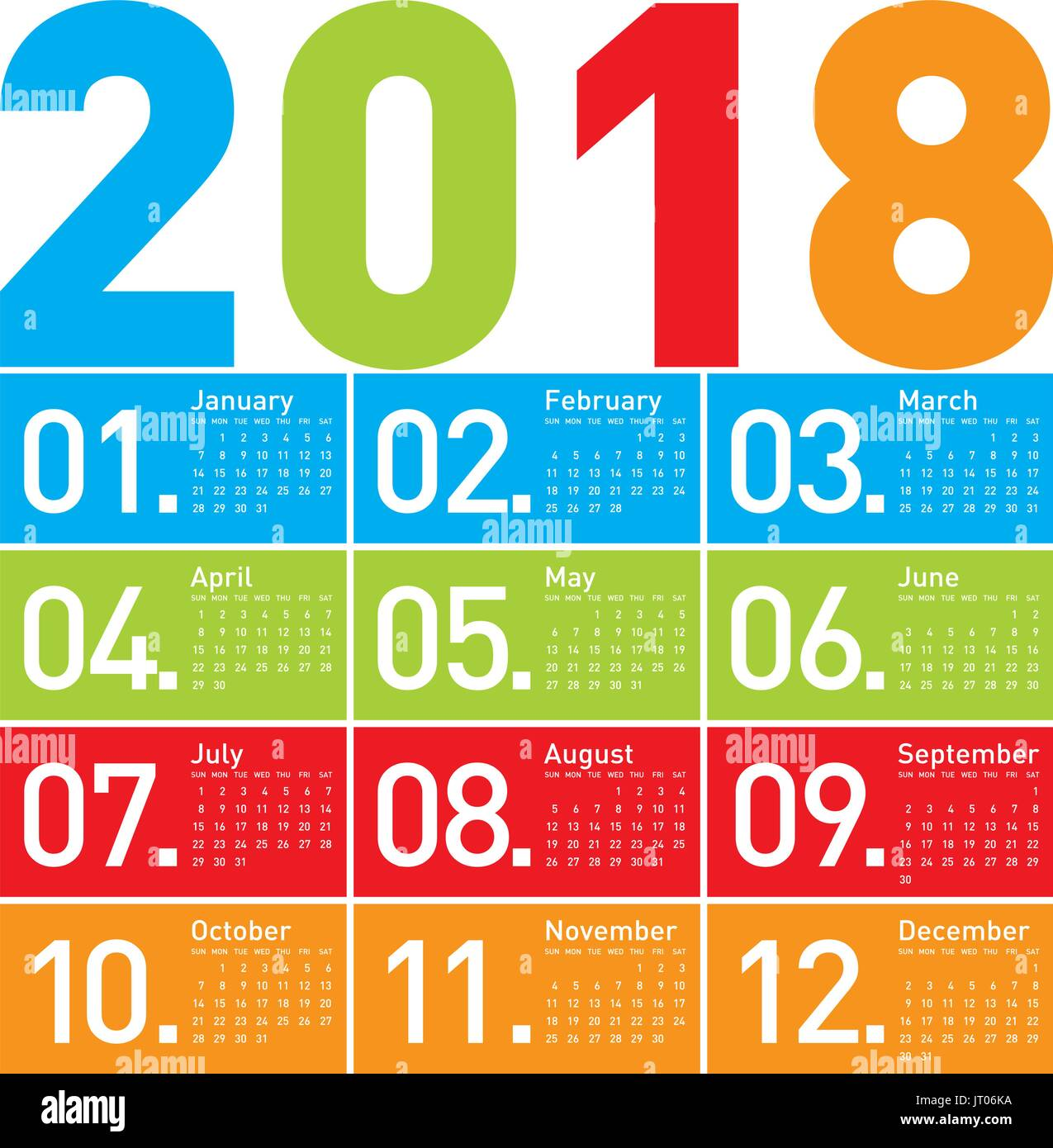 Colorful Calendar For Year 2018 In Vector Format Stock