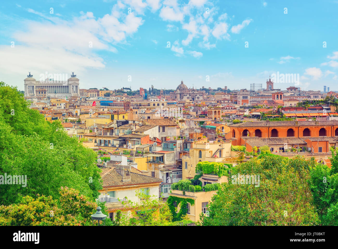 View of the city of Rome from above, from the hill of Terrazza del ...