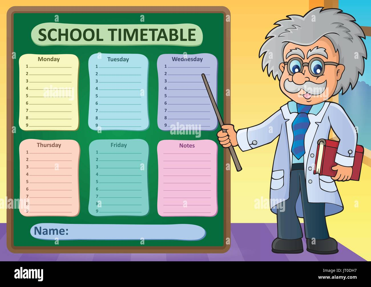 Weekly school timetable design 1 eps10 vector illustration – School Time Table Designs