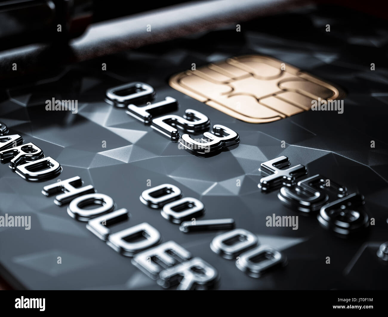 Selective focus point on black credit card background. Business ...