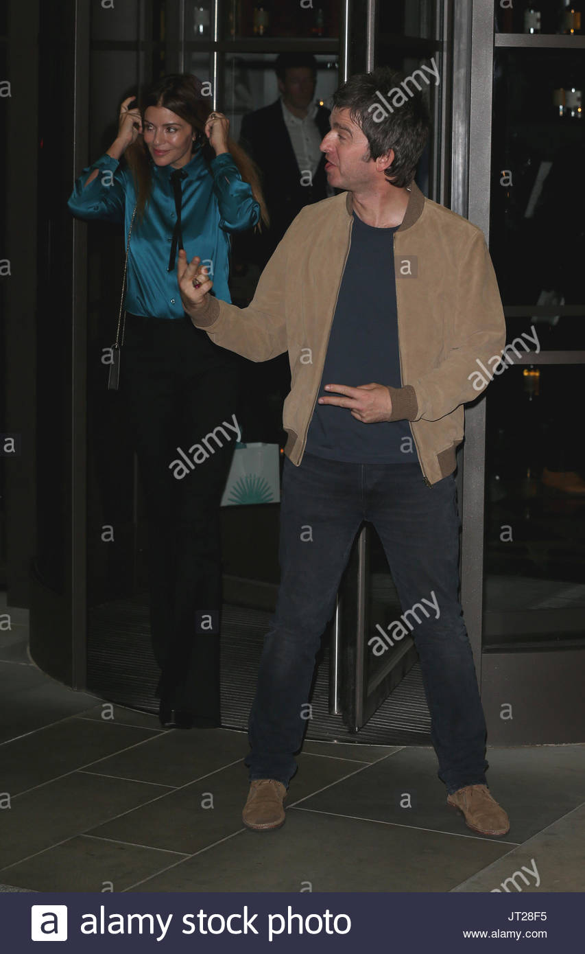 Former Oasis Star Noel Gallagher And Wife Sara Macdonaldattends Attend Supermodel Cindy Crawford Release Of Her Book Becoming At The The Beaumont Former