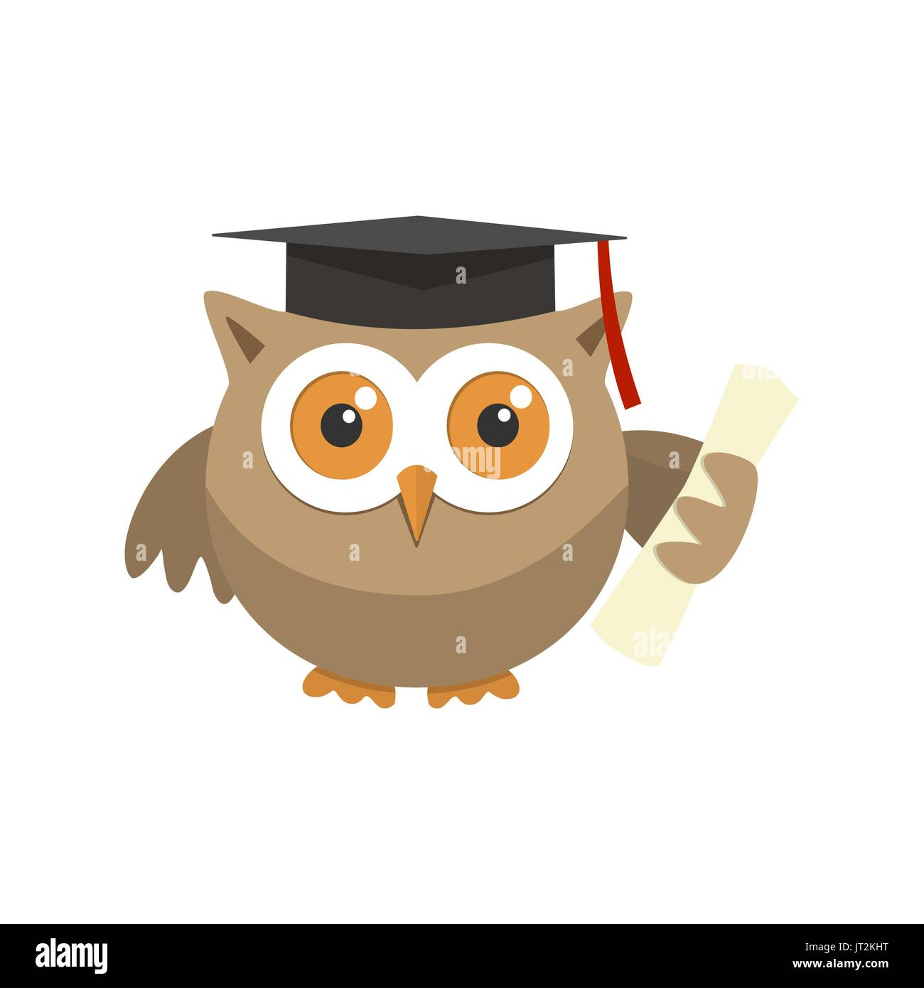 Owl Graduate With A Hat On A White Background Stock Vector
