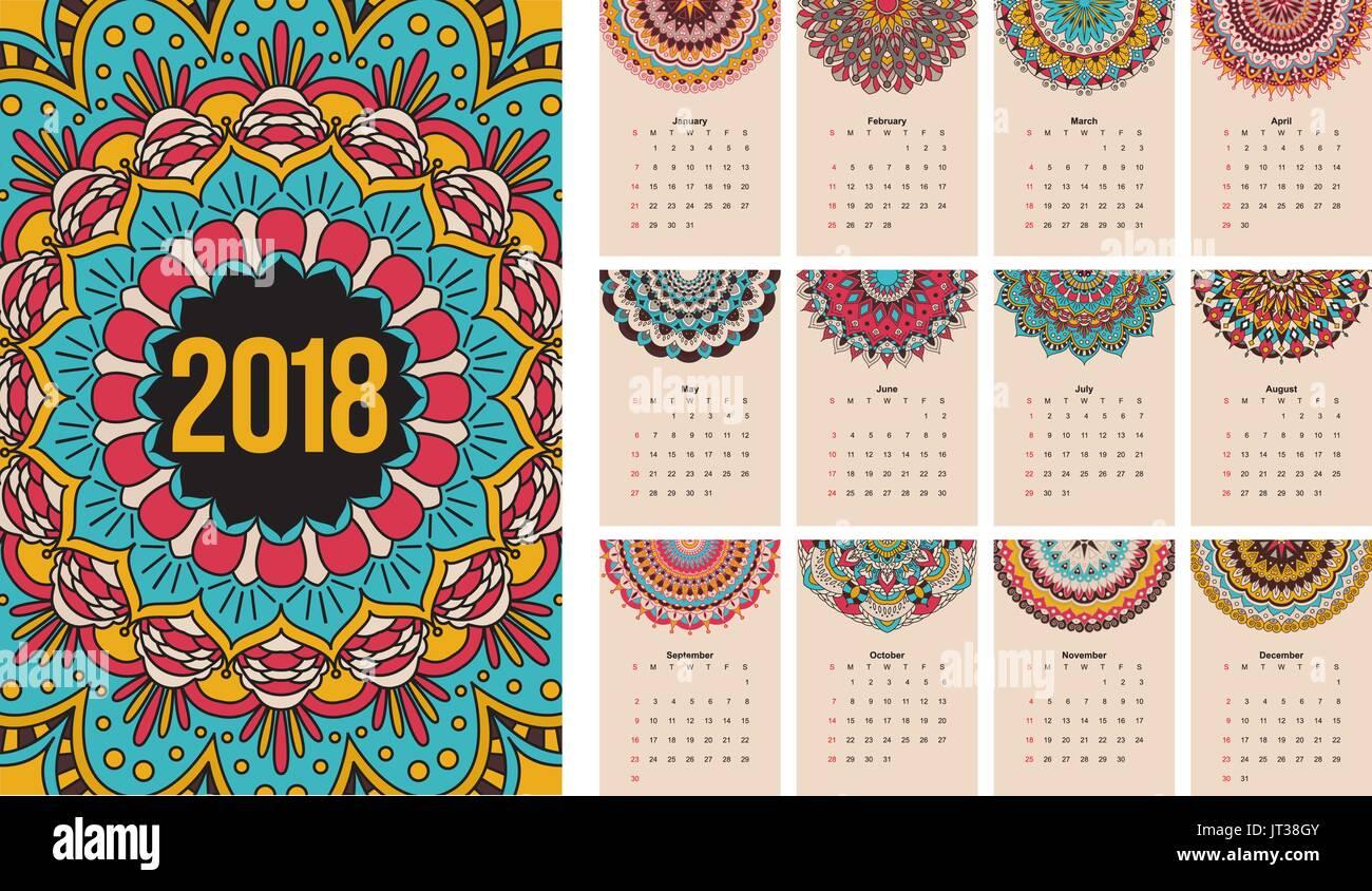 2018 Calendar Stock Vector Images Alamy