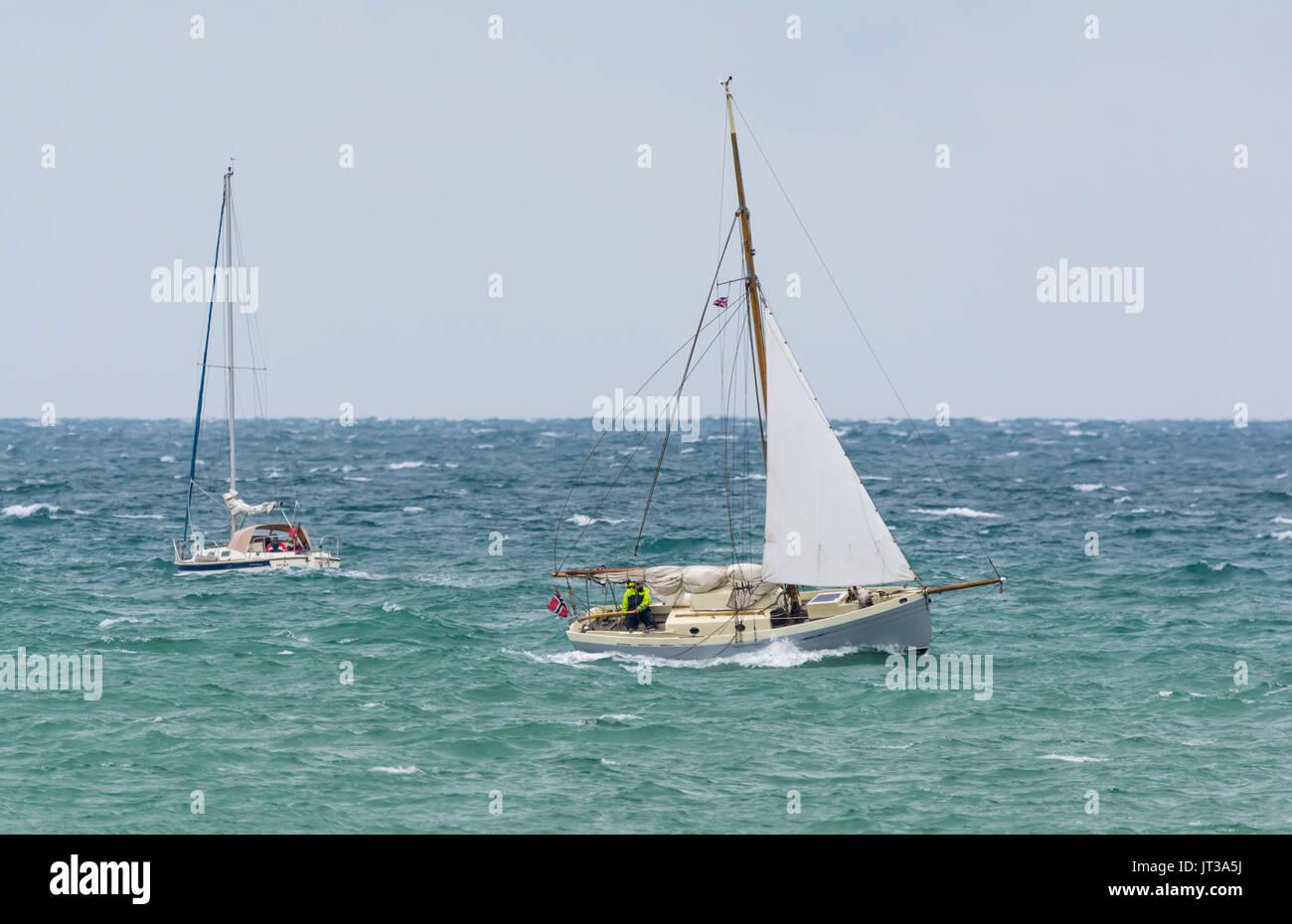 Yachts At Sea On A Windy Day Small Sailing Boats Rough Seas