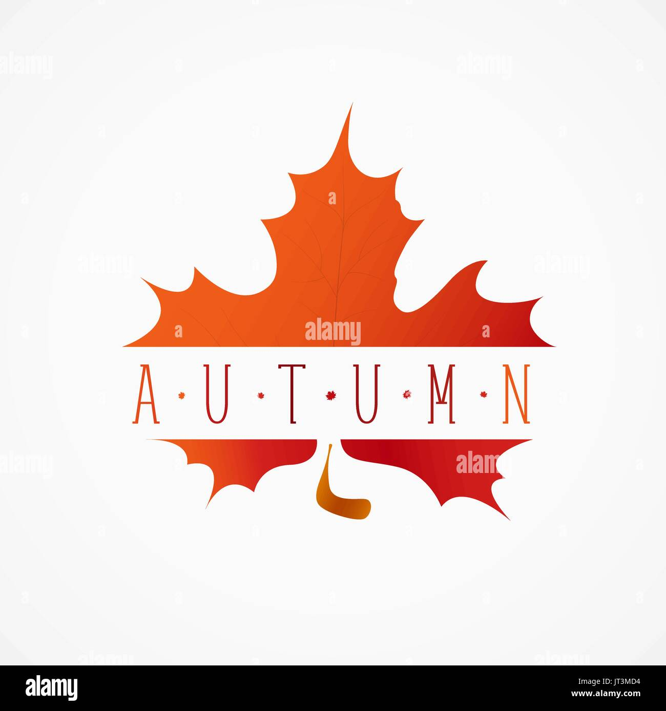 autumn yellow red leaf with an inscription template of logo or tag