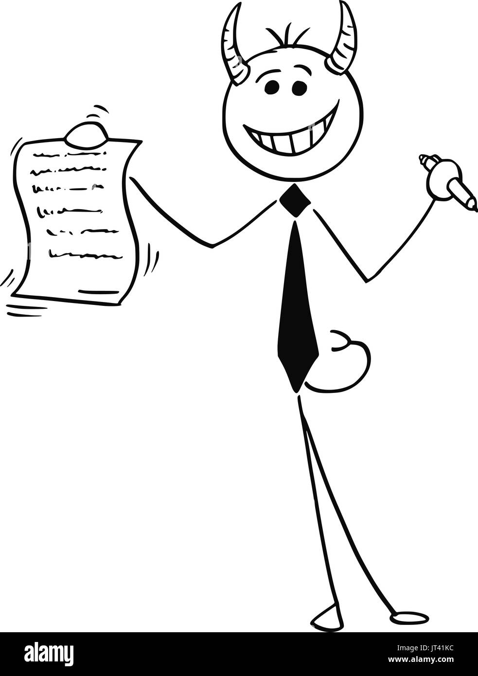 Devil horns black and white stock photos images alamy cartoon vector illustration of smiling stick man devil businessman or salesman offering contract or agreement paper buycottarizona
