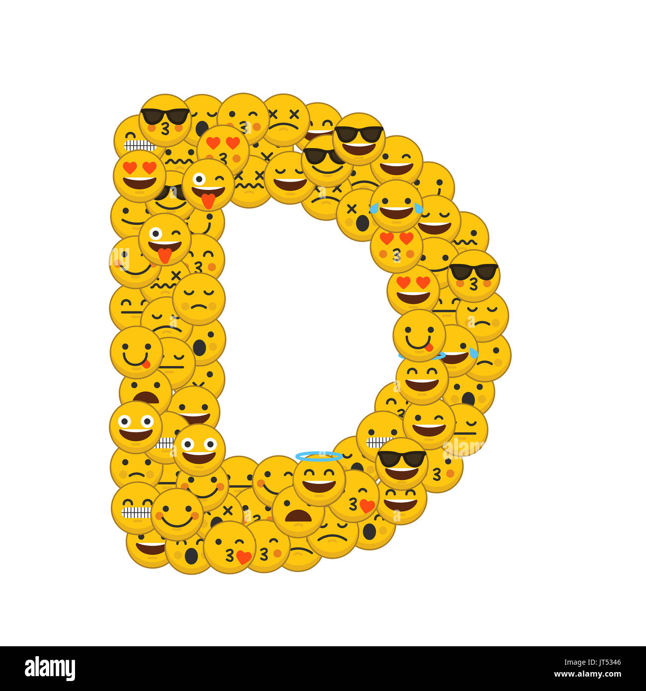 Super Emoji smiley characters capital letter D Stock Photo, Royalty Free  CR96
