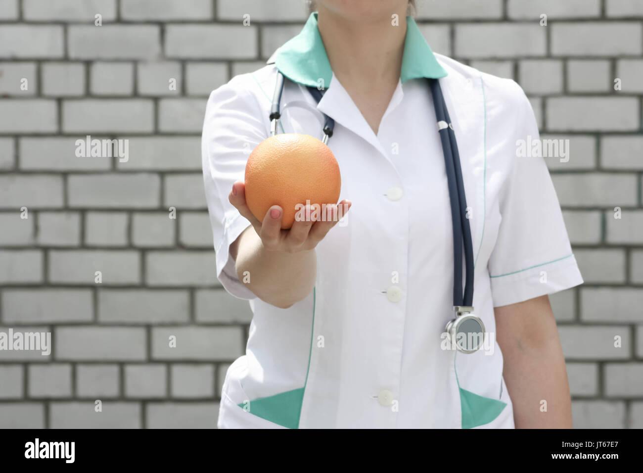 Medicine Concept Doctor Diet And Proper Nutrition Vitamin Orange