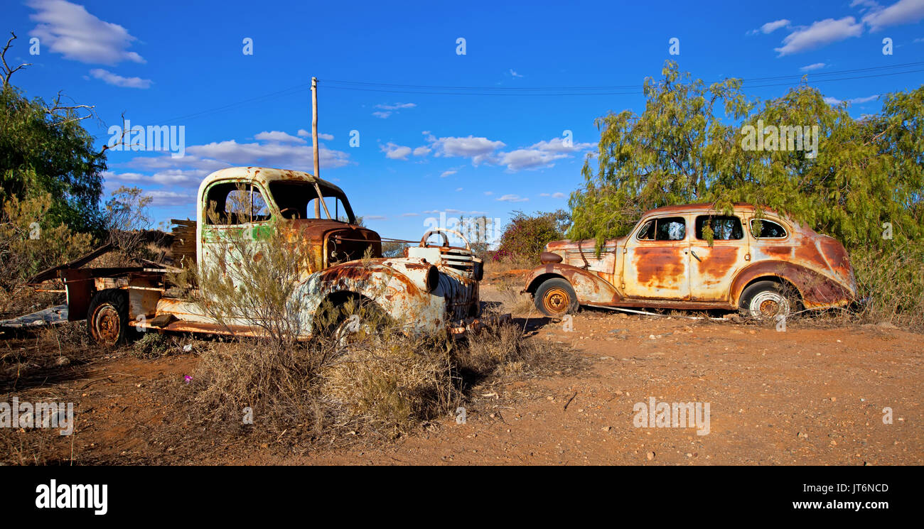 Rusty old cars left out in the weather Broken Hill New South Wales ...